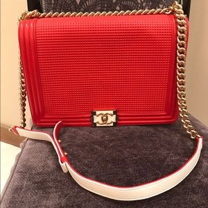 Large Chanel red Le boy